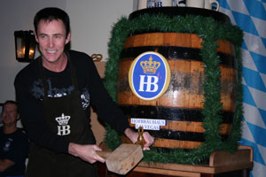 Lance Burton tapping the keg at Oktoberfest, 2008