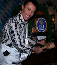 Lance Burton tapping a keg at Hofbrauhaus