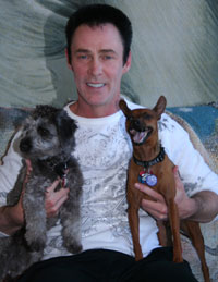 Lance Burton and his two dogs
